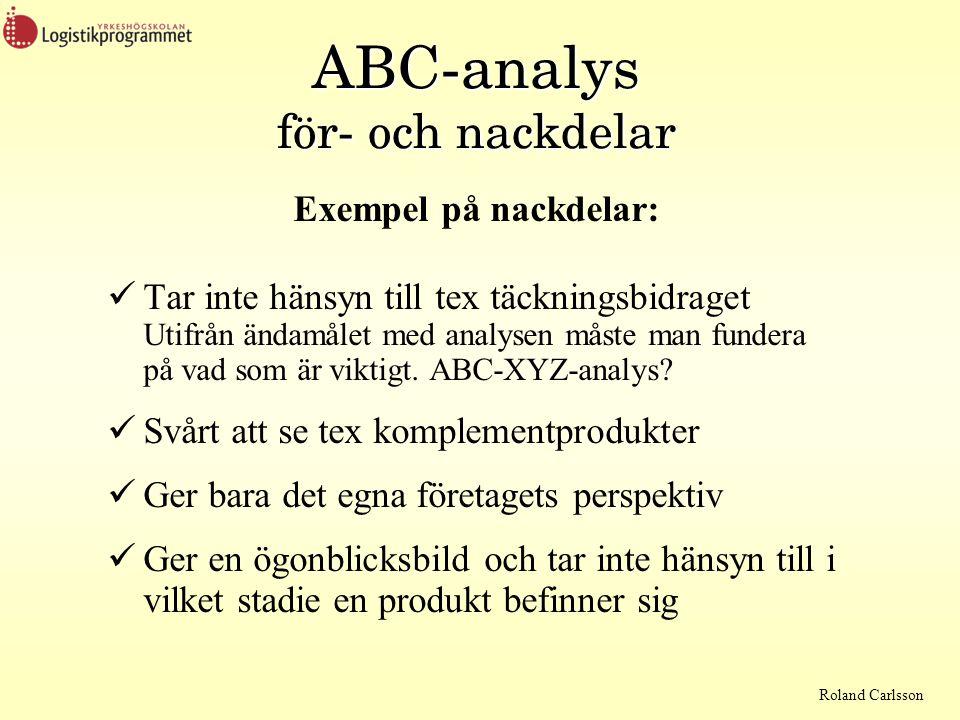 Roland Carlsson ABC-analys för- och nackdelar Exempel på nackdelar:  Tar inte hänsyn till tex täckningsbidraget Utifrån ändamålet med analysen måste