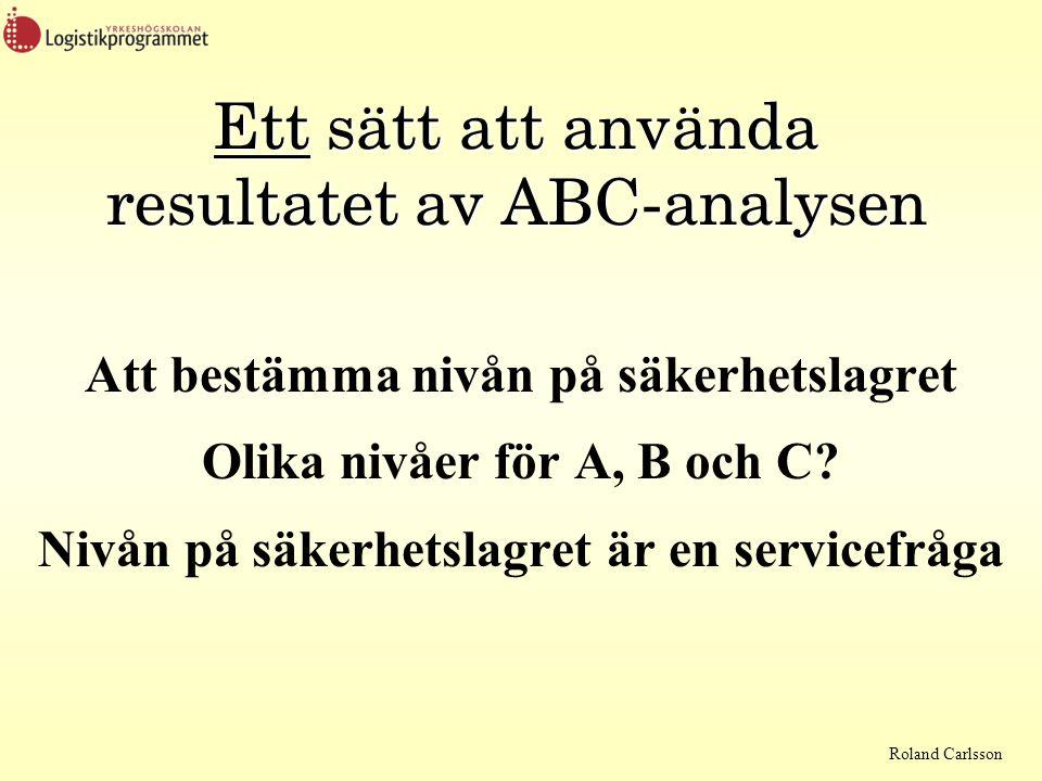 Roland Carlsson Ett sätt att använda resultatet av ABC-analysen Att bestämma nivån på säkerhetslagret Olika nivåer för A, B och C? Nivån på säkerhetsl