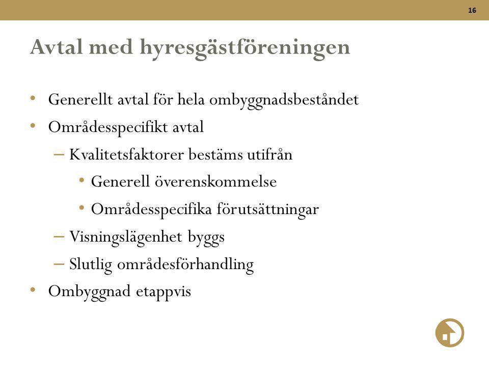 16 Avtal med hyresgästföreningen • Generellt avtal för hela ombyggnadsbeståndet • Områdesspecifikt avtal – Kvalitetsfaktorer bestäms utifrån • Generel
