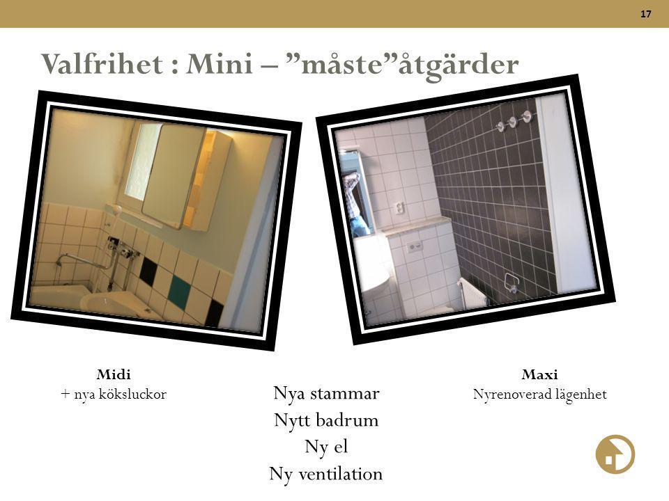 """17 Valfrihet : Mini – """"måste""""åtgärder Nya stammar Nytt badrum Ny el Ny ventilation Midi + nya köksluckor Maxi Nyrenoverad lägenhet"""