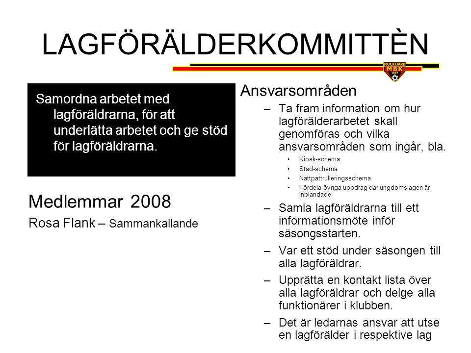 PR- & MEDLEMSVÅRDSKOMMITTÈN Medlemmar 2008 Vakant Ansvarsområden •Föreslå el.