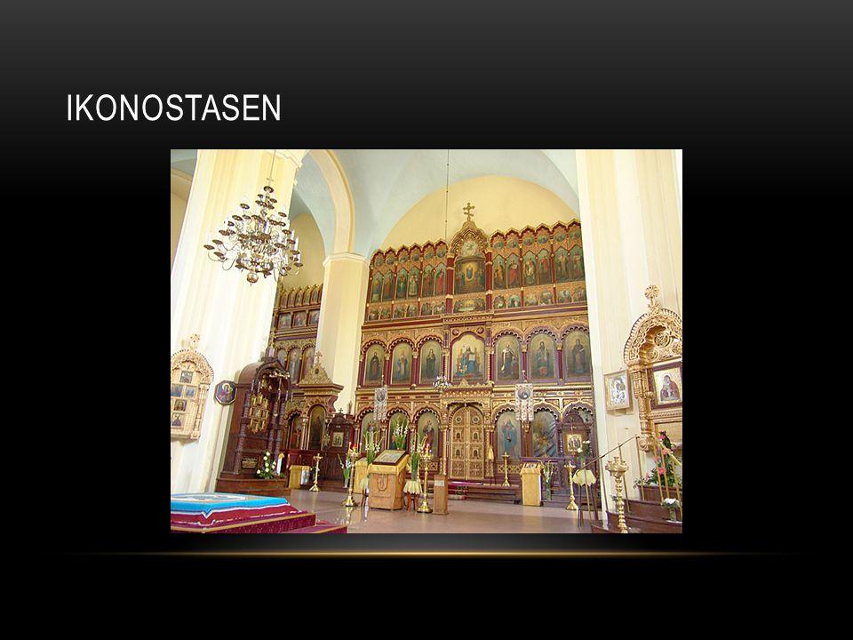 • Avdelande vägg mellan altaret (himmelen) och församlingen (jorden) • Täckt av ikoner • 3 till 5 dörrar • Den mittersta leder till altaret • Bakom förbereds nattvardsvin och bröd