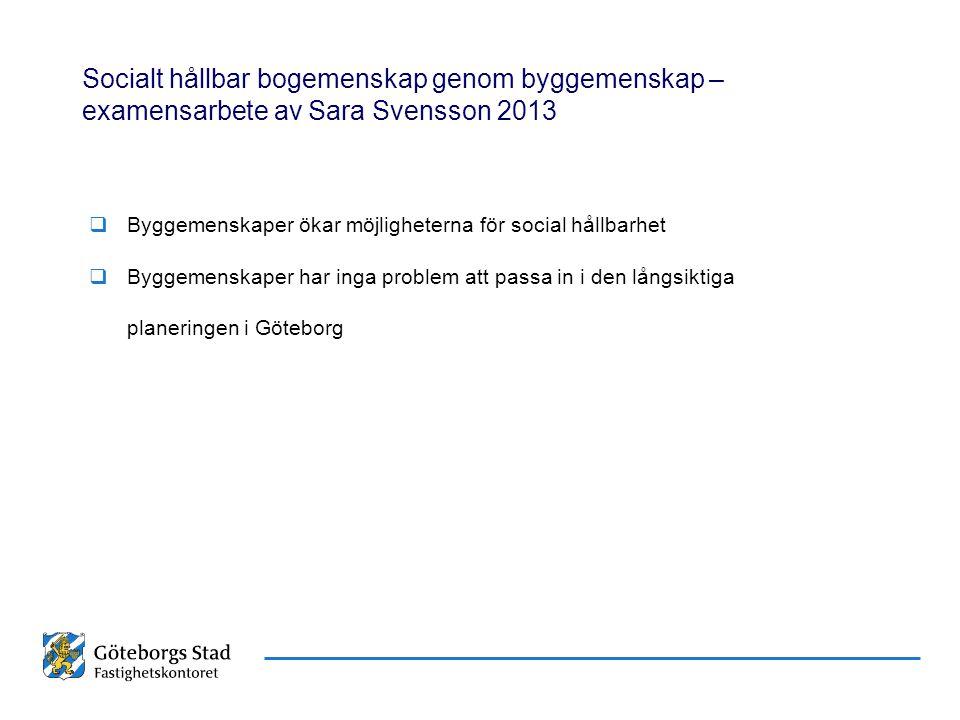 Datum Namn Presentationens namn Socialt hållbar bogemenskap genom byggemenskap – examensarbete av Sara Svensson 2013  Byggemenskaper ökar möjligheter