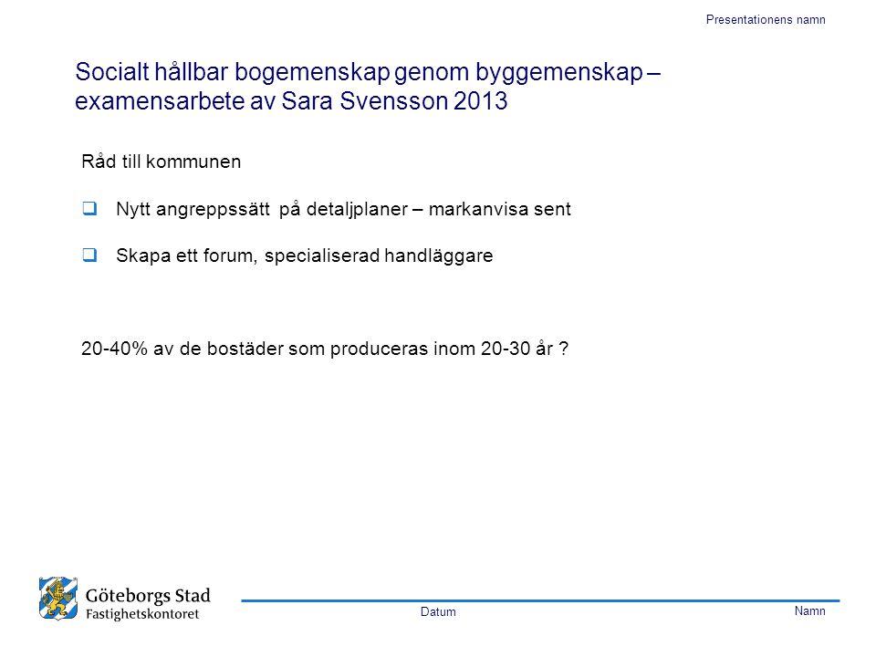 Datum Namn Presentationens namn Socialt hållbar bogemenskap genom byggemenskap – examensarbete av Sara Svensson 2013 Råd till kommunen  Nytt angrepps