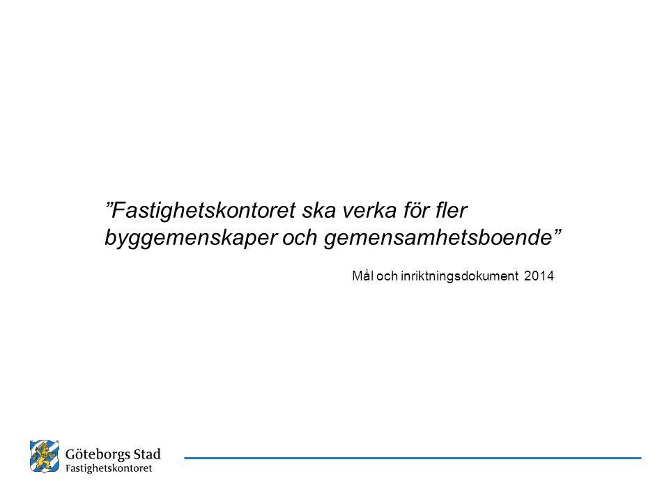 """Datum Namn Presentationens namn """"Fastighetskontoret ska verka för fler byggemenskaper och gemensamhetsboende"""" Mål och inriktningsdokument 2014"""
