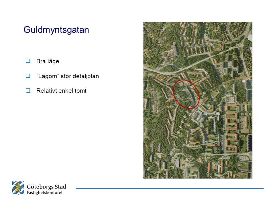 """Datum Namn Presentationens namn Guldmyntsgatan  Bra läge  """"Lagom"""" stor detaljplan  Relativt enkel tomt"""