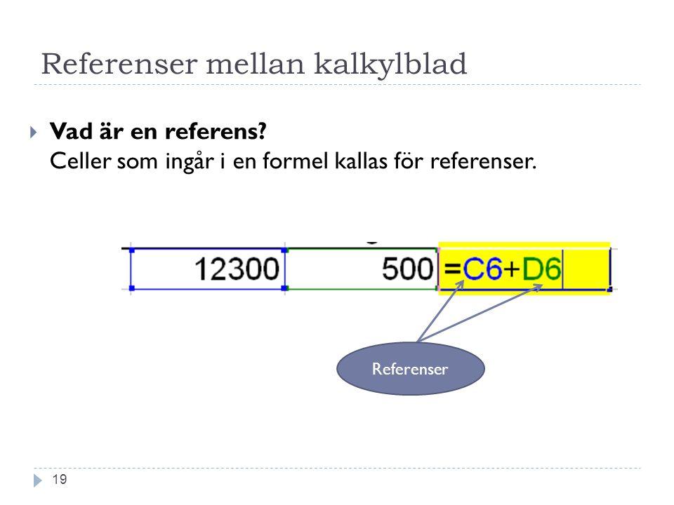 Referenser mellan kalkylblad  Vad är en referens? Celler som ingår i en formel kallas för referenser. Referenser 19