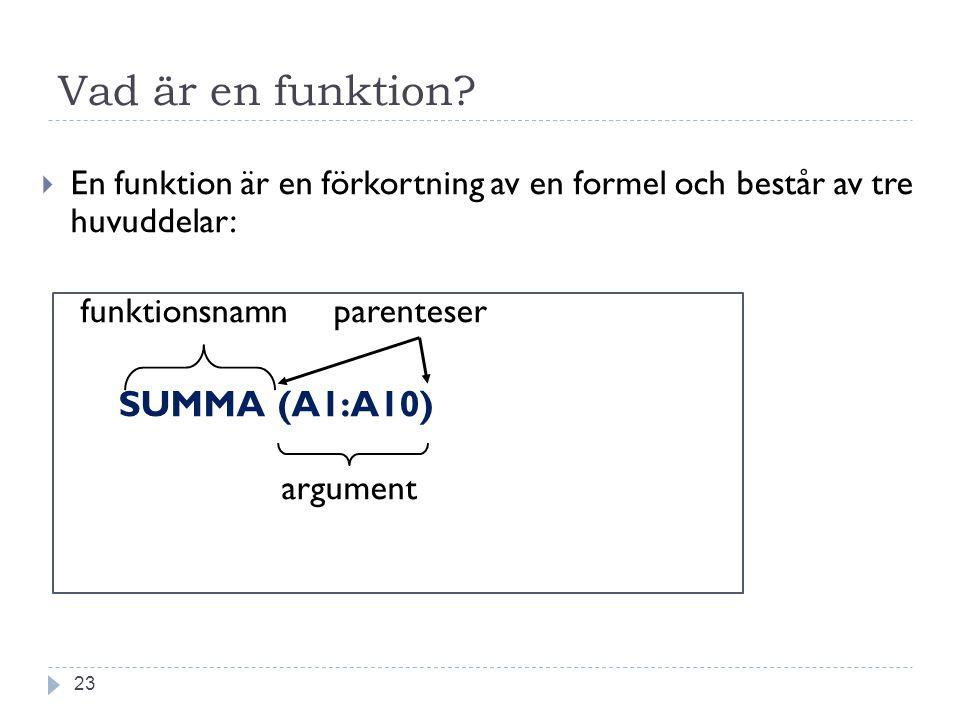 Vad är en funktion?  En funktion är en förkortning av en formel och består av tre huvuddelar: funktionsnamn parenteser SUMMA (A1:A10) argument 23