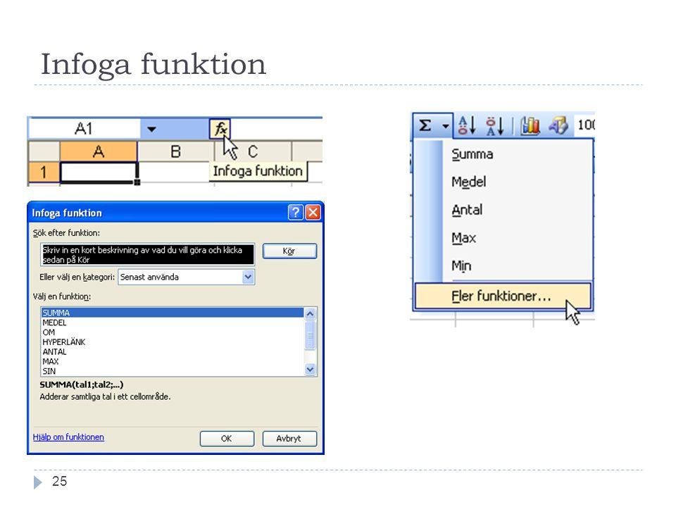 Infoga funktion 25
