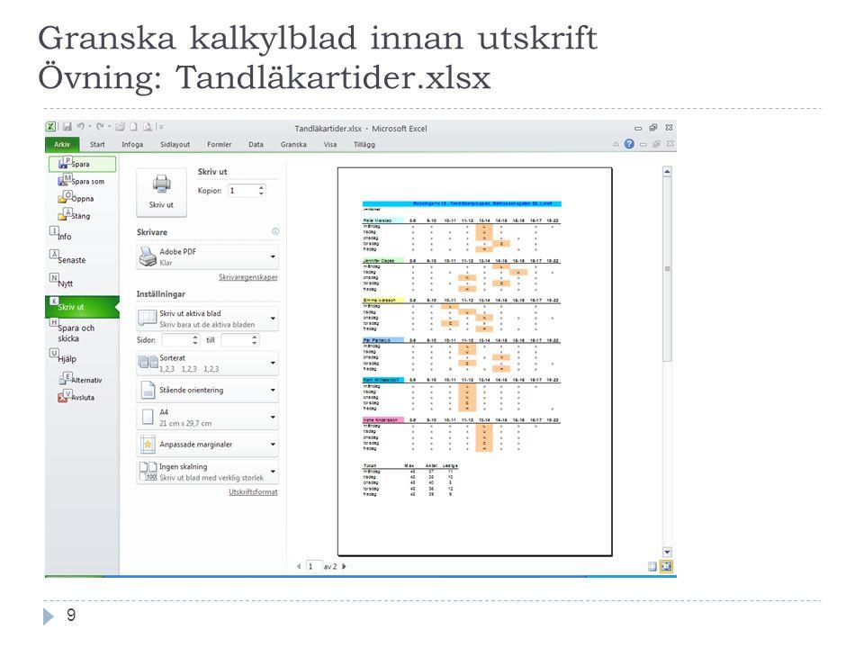 Granska kalkylblad innan utskrift Övning: Tandläkartider.xlsx 9