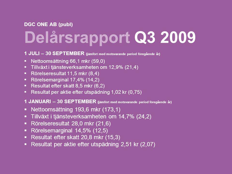 1 DGC ONE AB (publ) Delårsrapport Q3 2009 1 JULI – 30 SEPTEMBER (jämfört med motsvarande period föregående år)  Nettoomsättning 66,1 mkr (59,0)  Tillväxt i tjänsteverksamheten om 12,9% (21,4)  Rörelseresultat 11,5 mkr (8,4)  Rörelsemarginal 17,4% (14,2)  Resultat efter skatt 8,5 mkr (6,2)  Resultat per aktie efter utspädning 1,02 kr (0,75) 1 JANUARI – 30 SEPTEMBER (jämfört med motsvarande period föregående år)  Nettoomsättning 193,6 mkr (173,1)  Tillväxt i tjänsteverksamheten om 14,7% (24,2)  Rörelseresultat 28,0 mkr (21,6)  Rörelsemarginal 14,5% (12,5)  Resultat efter skatt 20,8 mkr (15,3)  Resultat per aktie efter utspädning 2,51 kr (2,07)