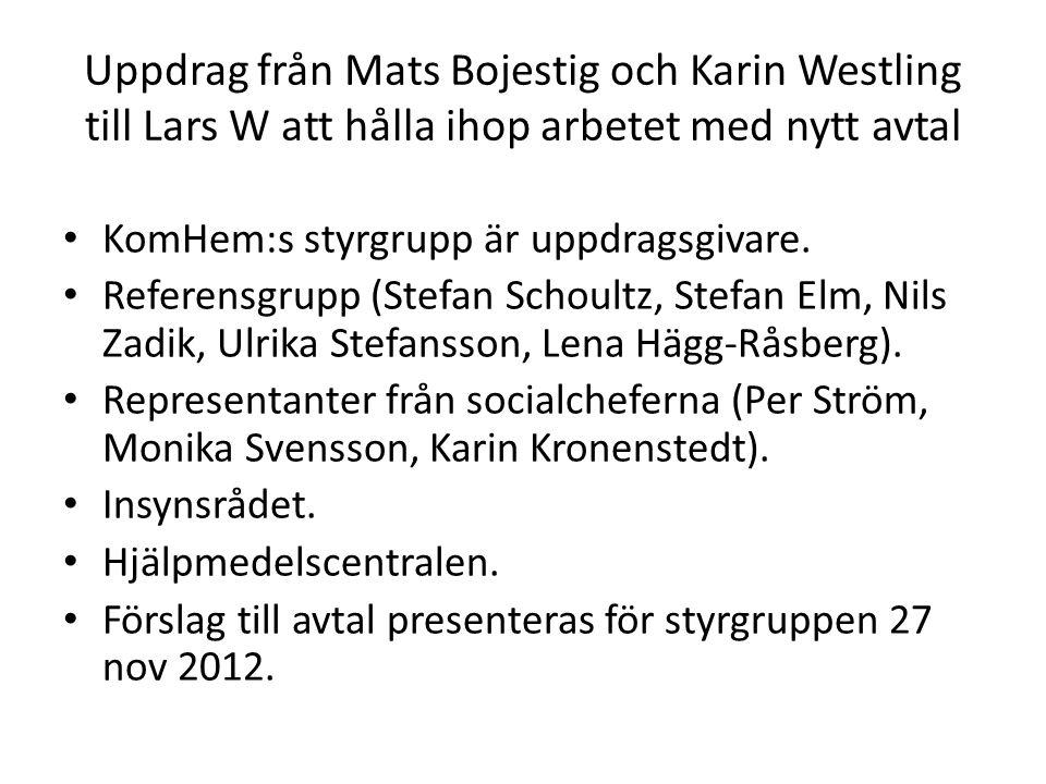Ur KomHem-avtalet: 4.2.8 Hjälpmedelscentralen Länets kommuner har samverkansavtal med Landstingets hjälpmedelscentral avseende hjälpmedelsverksamheten, som gäller till och med 2012.