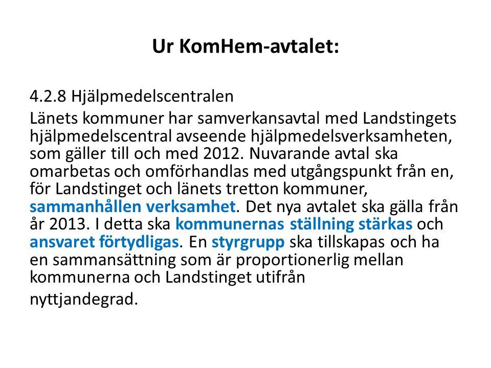 Ur KomHem-avtalet: 4.2.8 Hjälpmedelscentralen Länets kommuner har samverkansavtal med Landstingets hjälpmedelscentral avseende hjälpmedelsverksamheten
