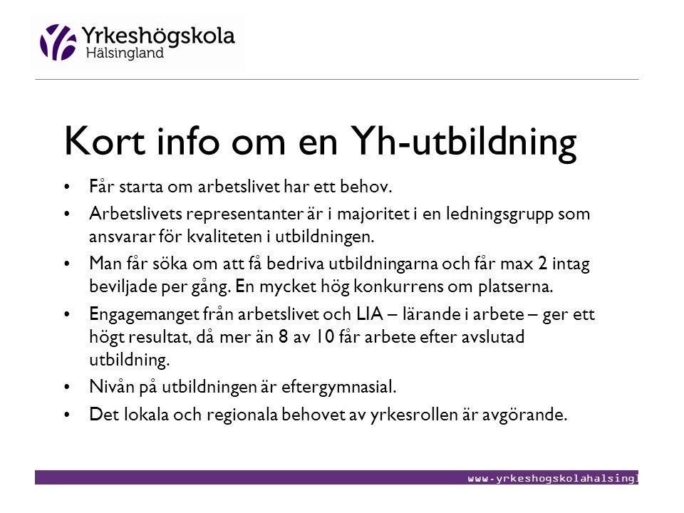 www.yrkeshogskolahalsingland.se Kort info om en Yh-utbildning •Får starta om arbetslivet har ett behov. •Arbetslivets representanter är i majoritet i