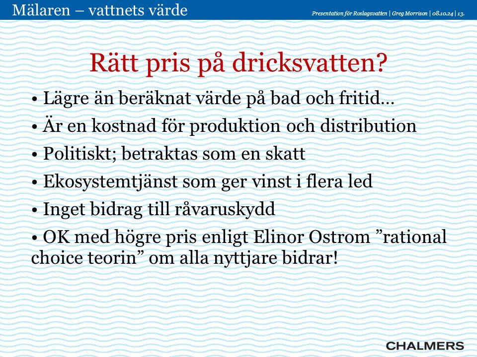 Presentation för Roslagsvatten   Greg Morrison   08.10.24   13. Mälaren – vattnets värde Rätt pris på dricksvatten? • Lägre än beräknat värde på bad o