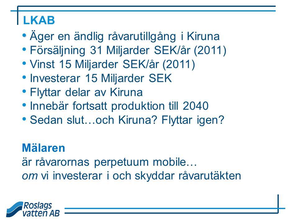 • • Äger en ändlig råvarutillgång i Kiruna • Försäljning 31 Miljarder SEK/år (2011) • Vinst 15 Miljarder SEK/år (2011) • Investerar 15 Miljarder SEK •