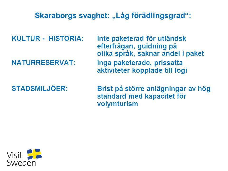 """Skaraborgs svaghet: """"Låg förädlingsgrad"""": KULTUR - HISTORIA:Inte paketerad för utländsk efterfrågan, guidning på olika språk, saknar andel i paket NAT"""