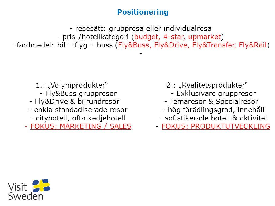 Positionering - resesätt: gruppresa eller individualresa - pris-/hotellkategori (budget, 4-star, upmarket) - färdmedel: bil – flyg – buss (Fly&Buss, F