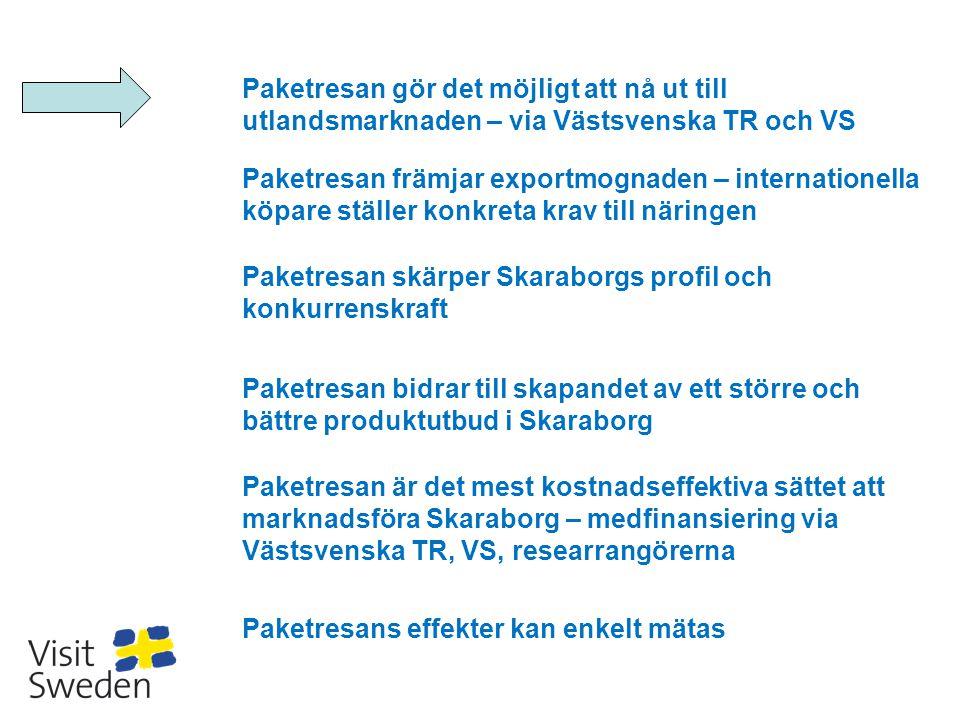 Paketresan gör det möjligt att nå ut till utlandsmarknaden – via Västsvenska TR och VS Paketresan främjar exportmognaden – internationella köpare stäl