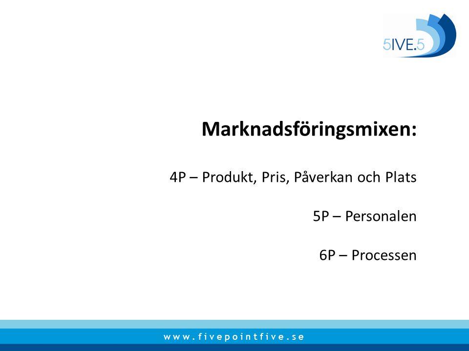 w w w. f i v e p o i n t f i v e. s e Marknadsföringsmixen: 4P – Produkt, Pris, Påverkan och Plats 5P – Personalen 6P – Processen