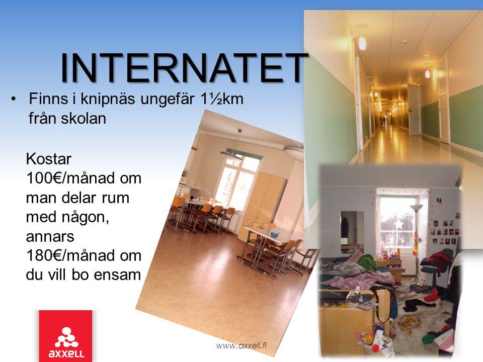 •Finns i knipnäs ungefär 1½km från skolan www.axxell.fi INTERNATET Kostar 100€/månad om man delar rum med någon, annars 180€/månad om du vill bo ensam