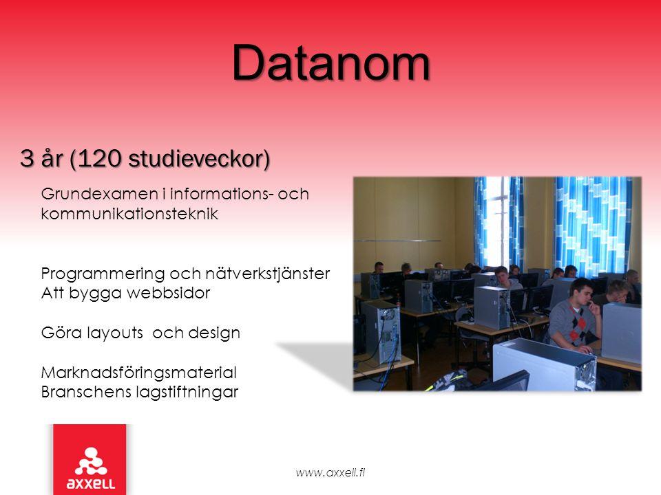 Datanom 3 år (120 studieveckor) Grundexamen i informations- och kommunikationsteknik Programmering och nätverkstjänster Att bygga webbsidor Göra layou