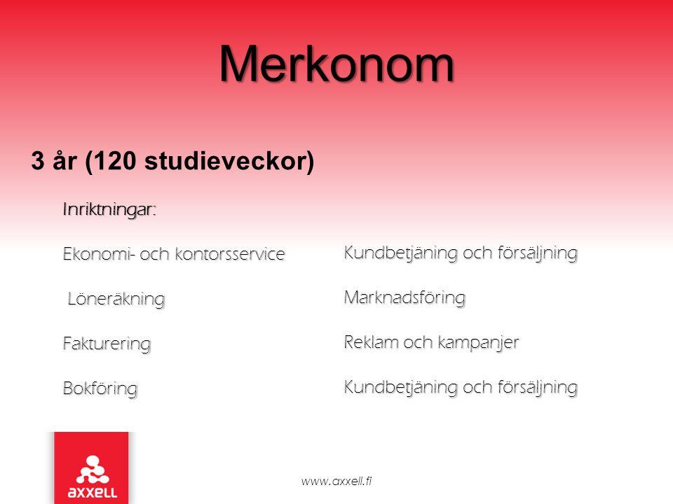 Merkonom www.axxell.fi 3 år (120 studieveckor) Inriktningar: Ekonomi- och kontorsservice Löneräkning LöneräkningFaktureringBokföring Kundbetjäning och