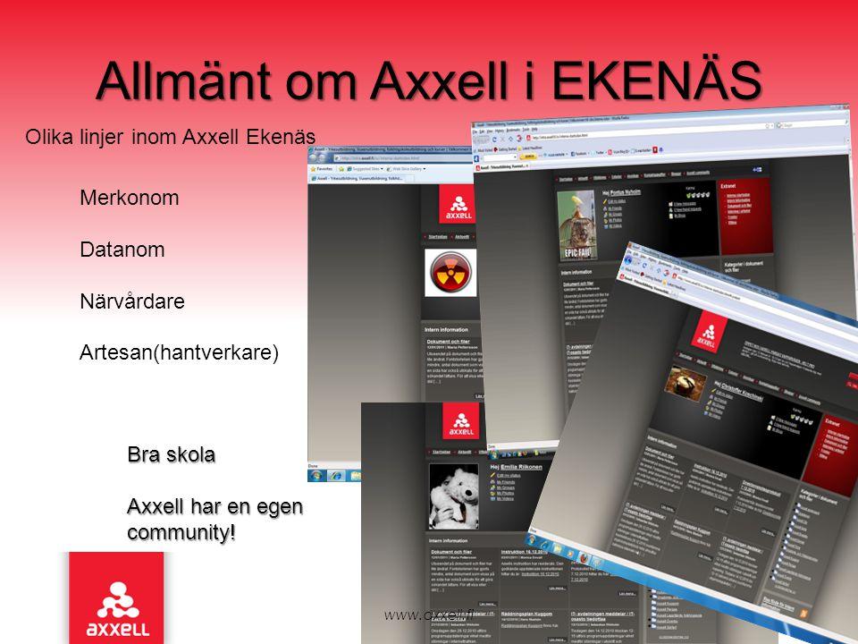 www.axxell.fi Allmänt om Axxell i EKENÄS Olika linjer inom Axxell Ekenäs Merkonom Datanom Närvårdare Artesan(hantverkare) Bra skola Axxell har en egen