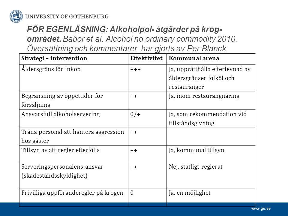 www.gu.se FÖR EGENLÄSNING: Alkoholpol- åtgärder på krog- området. Babor et al. Alcohol no ordinary commodity 2010. Översättning och kommentarer har gj