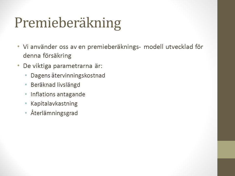 Premieberäkning • Vi använder oss av en premieberäknings- modell utvecklad för denna försäkring • De viktiga parametrarna är: • Dagens återvinningskos