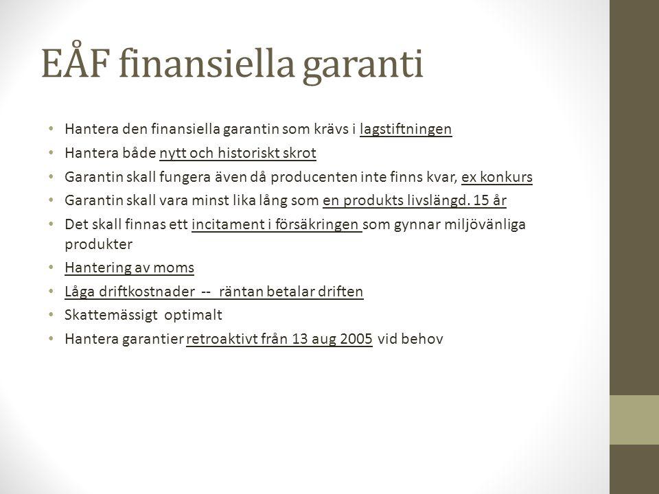 EÅF finansiella garanti • Hantera den finansiella garantin som krävs i lagstiftningen • Hantera både nytt och historiskt skrot • Garantin skall funger
