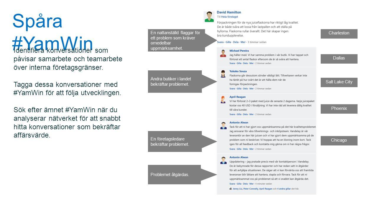 Spåra #YamWin Identifiera konversationer som påvisar samarbete och teamarbete över interna företagsgränser. Tagga dessa konversationer med #YamWin för