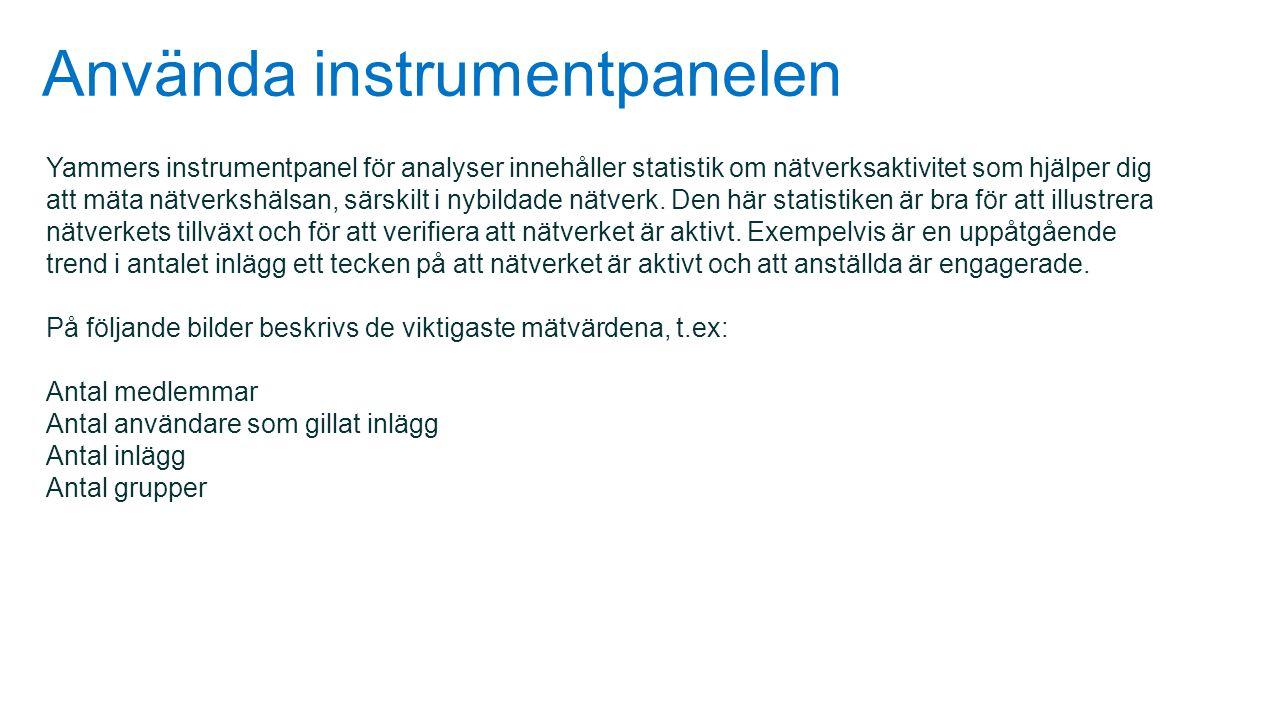 Använda instrumentpanelen Yammers instrumentpanel för analyser innehåller statistik om nätverksaktivitet som hjälper dig att mäta nätverkshälsan, särs