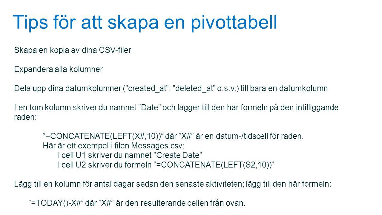 """Tips för att skapa en pivottabell Skapa en kopia av dina CSV-filer Expandera alla kolumner Dela upp dina datumkolumner (""""created_at"""", """"deleted_at"""" o.s"""