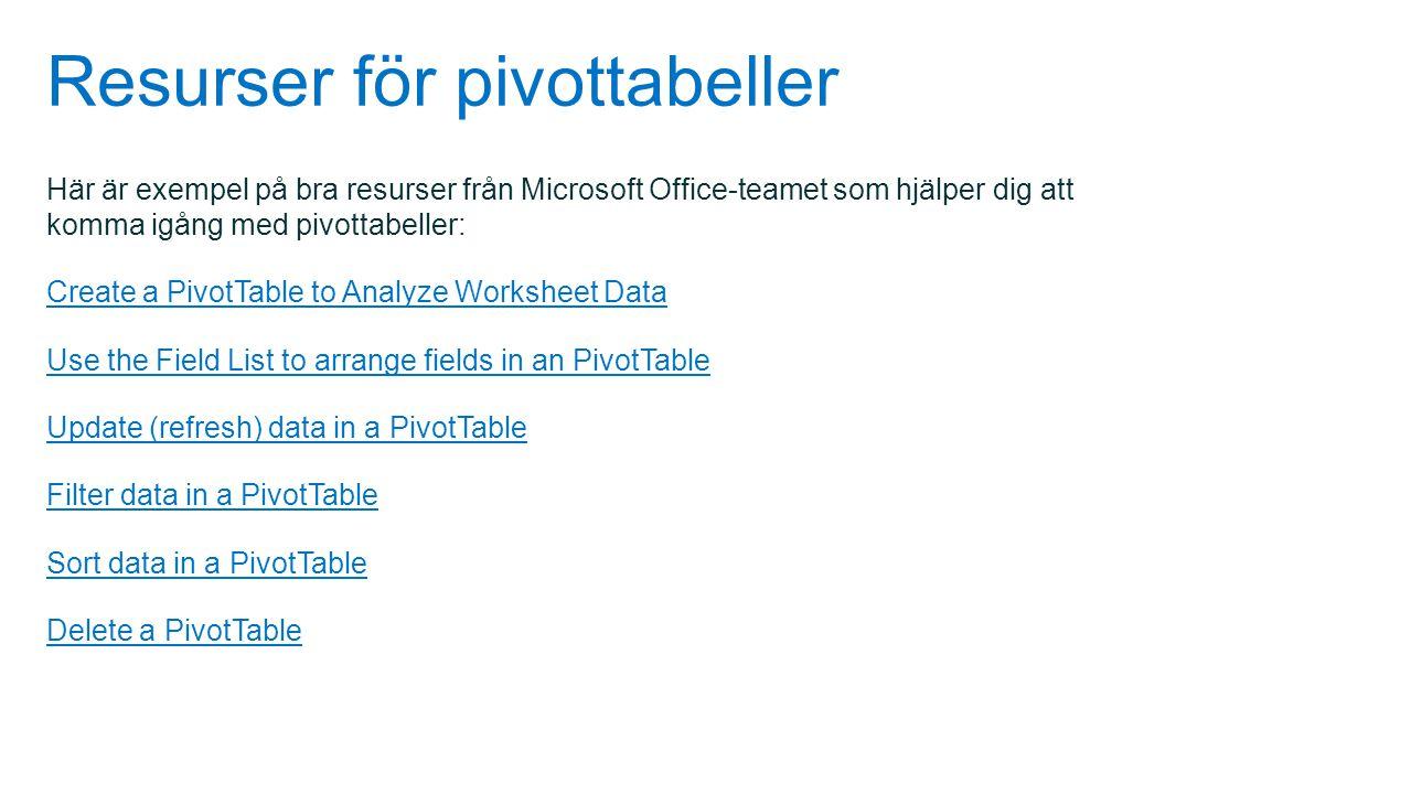 Resurser för pivottabeller Här är exempel på bra resurser från Microsoft Office-teamet som hjälper dig att komma igång med pivottabeller: Create a Piv
