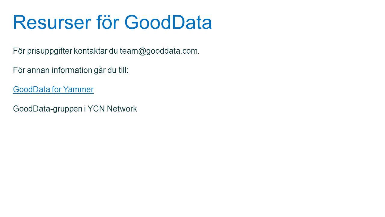 Resurser för GoodData För prisuppgifter kontaktar du team@gooddata.com. För annan information går du till: GoodData for Yammer GoodData-gruppen i YCN