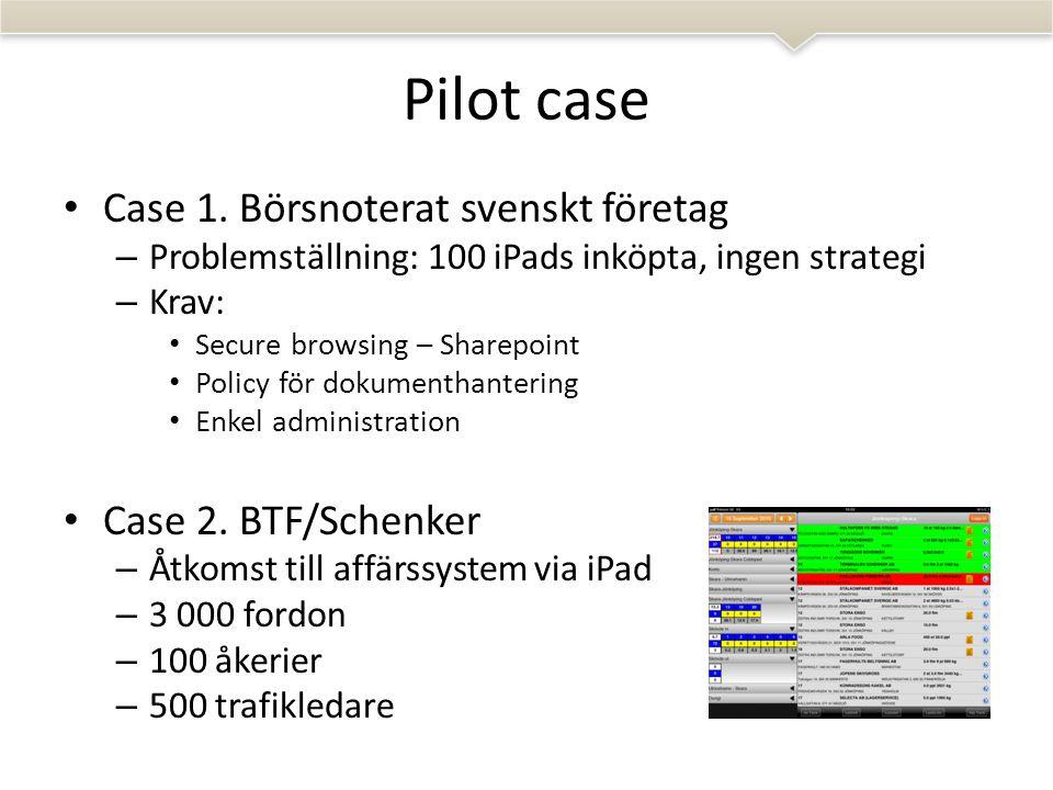 Pilot case • Case 1.