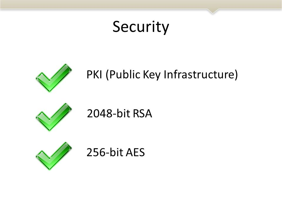 Security 256-bit AES 2048-bit RSA PKI (Public Key Infrastructure)