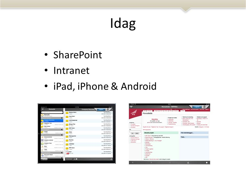 Idag • SharePoint • Intranet • iPad, iPhone & Android