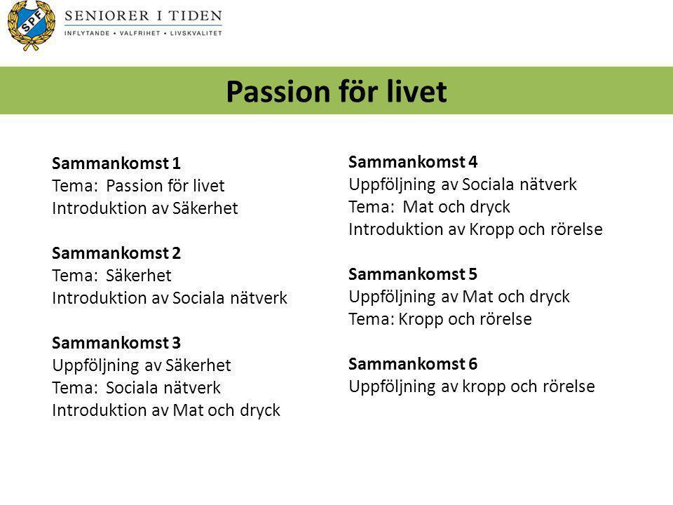 Sammankomst 1 Tema: Passion för livet Introduktion av Säkerhet Sammankomst 2 Tema: Säkerhet Introduktion av Sociala nätverk Sammankomst 3 Uppföljning