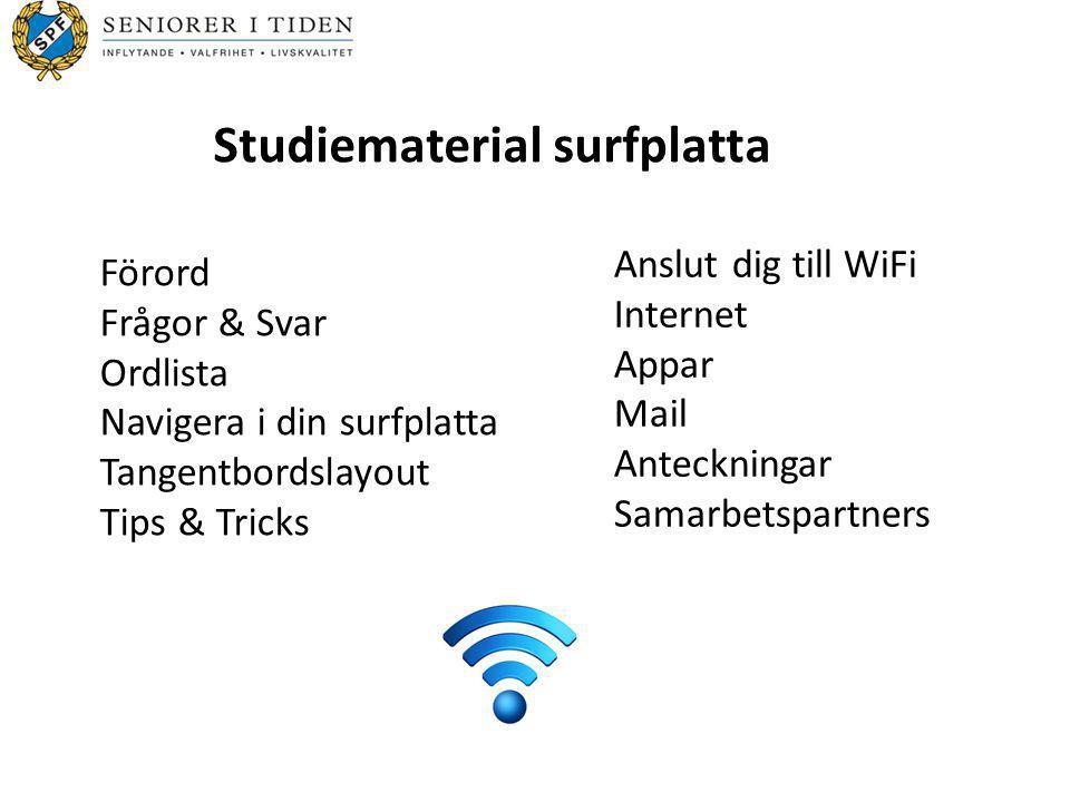 Förord Frågor & Svar Ordlista Navigera i din surfplatta Tangentbordslayout Tips & Tricks Anslut dig till WiFi Internet Appar Mail Anteckningar Samarbe