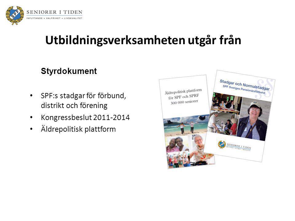 Utbildningsverksamheten utgår från Styrdokument • SPF:s stadgar för förbund, distrikt och förening • Kongressbeslut 2011-2014 • Äldrepolitisk plattfor
