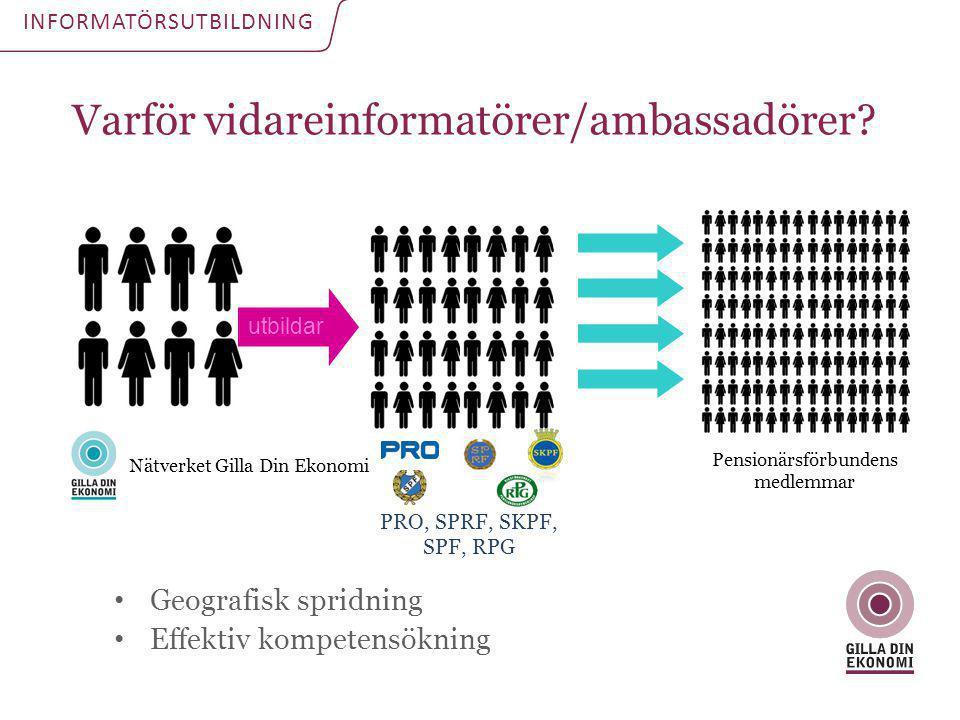 Varför vidareinformatörer/ambassadörer? INFORMATÖRSUTBILDNING • Geografisk spridning • Effektiv kompetensökning Nätverket Gilla Din Ekonomi Pensionärs