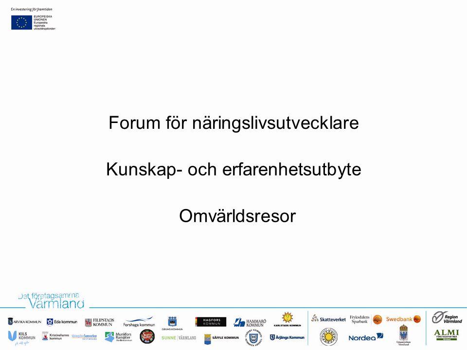 Forum för näringslivsutvecklare Omvärldsresor Kunskap- och erfarenhetsutbyte