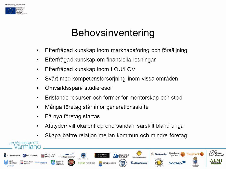 Behovsinventering •Efterfrågad kunskap inom marknadsföring och försäljning •Efterfrågad kunskap om finansiella lösningar •Efterfrågad kunskap inom LOU/LOV •Svårt med kompetensförsörjning inom vissa områden •Omvärldsspan/ studieresor •Bristande resurser och former för mentorskap och stöd •Många företag står inför generationsskifte •Få nya företag startas •Attityder/ vill öka entreprenörsandan särskilt bland unga •Skapa bättre relation mellan kommun och mindre företag