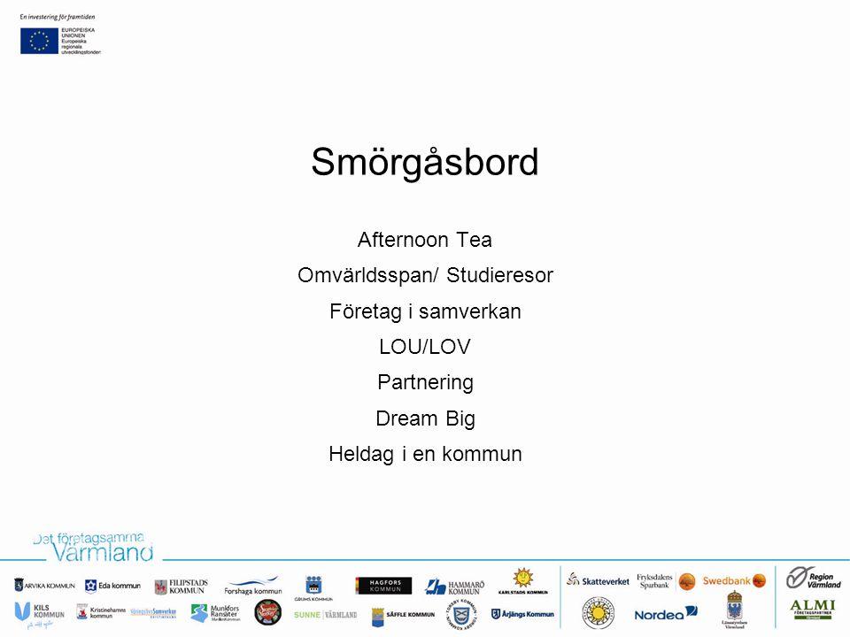 Afternoon Tea Omvärldsspan/ Studieresor Företag i samverkan LOU/LOV Partnering Dream Big Heldag i en kommun Smörgåsbord