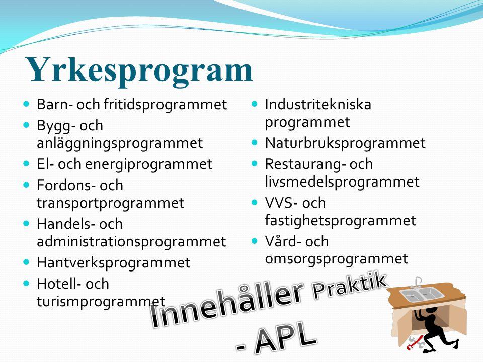 Yrkesprogram  Barn- och fritidsprogrammet  Bygg- och anläggningsprogrammet  El- och energiprogrammet  Fordons- och transportprogrammet  Handels-