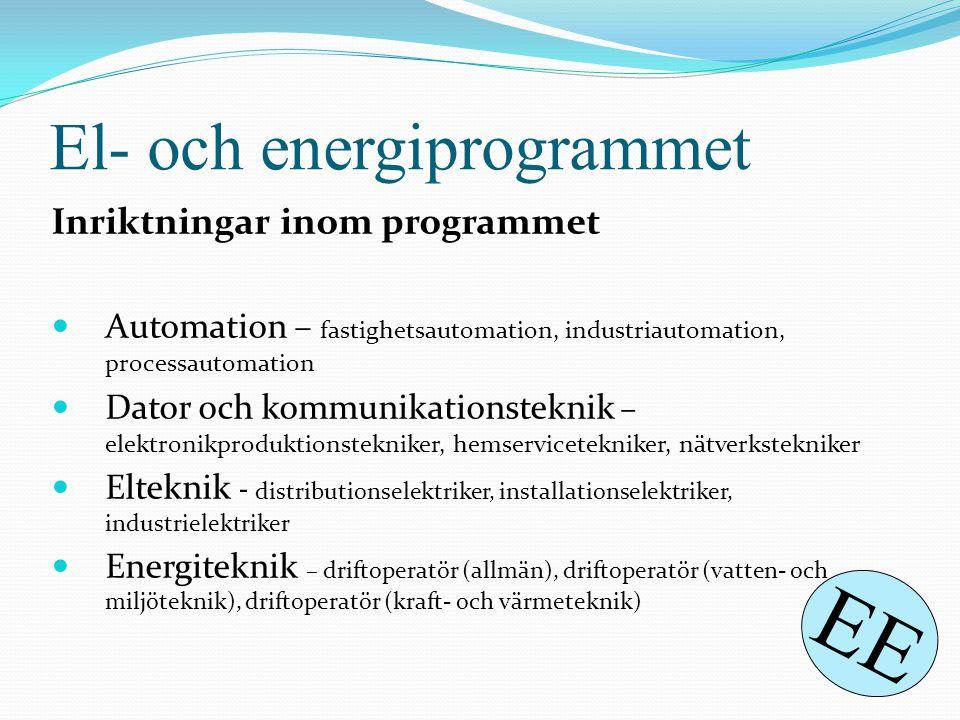 El- och energiprogrammet Inriktningar inom programmet  Automation – fastighetsautomation, industriautomation, processautomation  Dator och kommunika