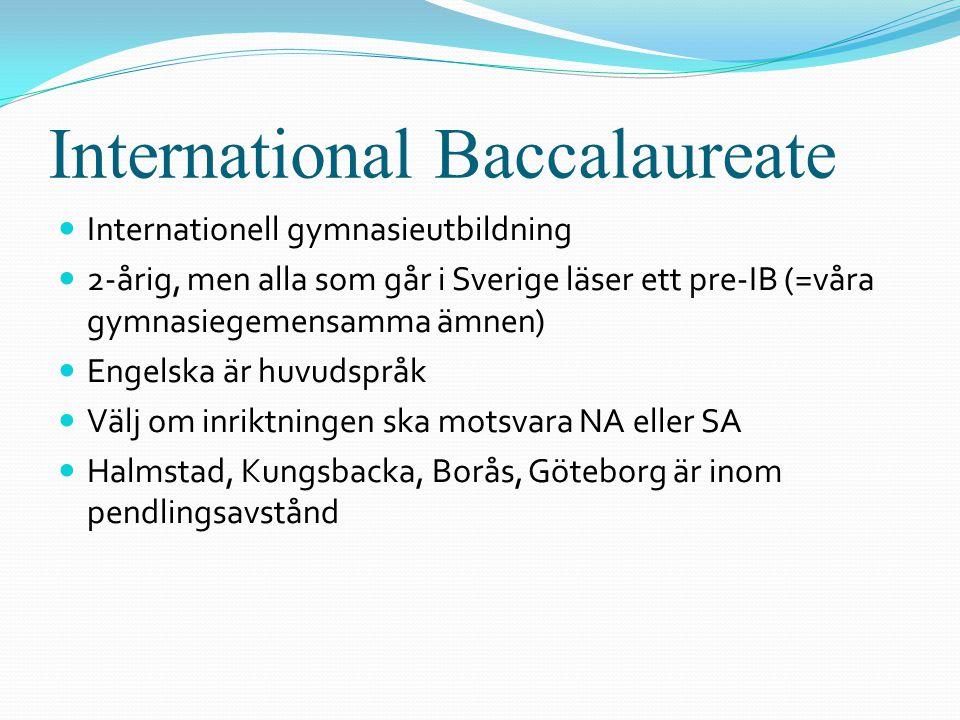 International Baccalaureate  Internationell gymnasieutbildning  2-årig, men alla som går i Sverige läser ett pre-IB (=våra gymnasiegemensamma ämnen)