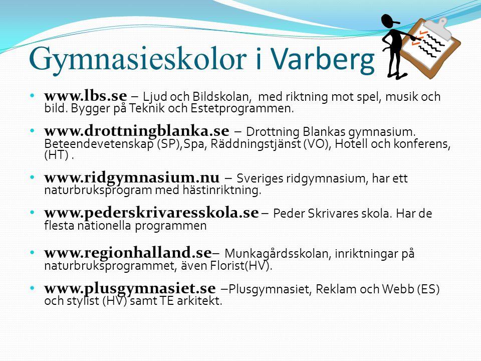 Gymnasieskolor i Varberg • www.lbs.se – Ljud och Bildskolan, med riktning mot spel, musik och bild. Bygger på Teknik och Estetprogrammen. • www.drottn